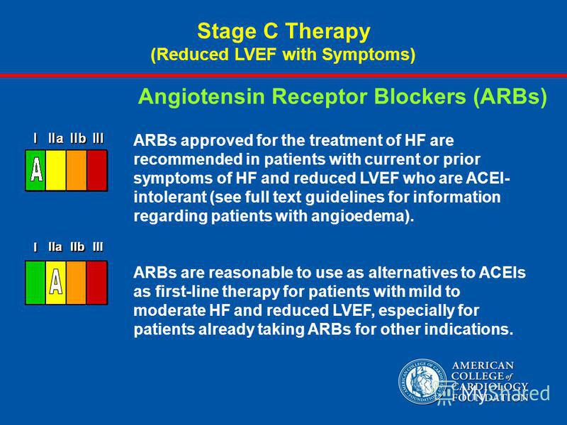 ARBs approved for the treatment of HF are recommended in patients with current or prior symptoms of HF and reduced LVEF who are ACEI- intolerant (see full text guidelines for information regarding patients with angioedema). ARBs are reasonable to use
