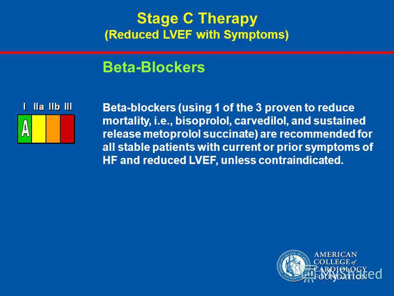 Beta-blockers (using 1 of the 3 proven to reduce mortality, i.e., bisoprolol, carvedilol, and sustained release metoprolol succinate) are recommended for all stable patients with current or prior symptoms of HF and reduced LVEF, unless contraindicate