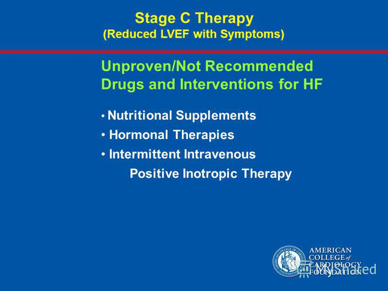 Unproven/Not Recommended Drugs and Interventions for HF Nutritional Supplements Hormonal Therapies Intermittent Intravenous Positive Inotropic Therapy Stage C Therapy (Reduced LVEF with Symptoms)