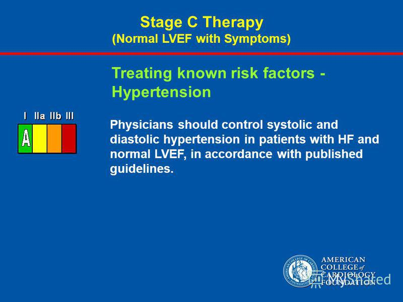 Physicians should control systolic and diastolic hypertension in patients with HF and normal LVEF, in accordance with published guidelines. Treating known risk factors - Hypertension Stage C Therapy (Normal LVEF with Symptoms)