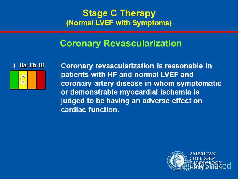 Coronary revascularization is reasonable in patients with HF and normal LVEF and coronary artery disease in whom symptomatic or demonstrable myocardial ischemia is judged to be having an adverse effect on cardiac function. Coronary Revascularization