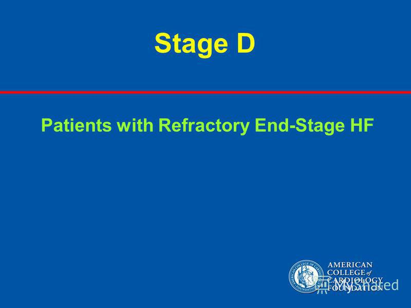 Stage D Patients with Refractory End-Stage HF