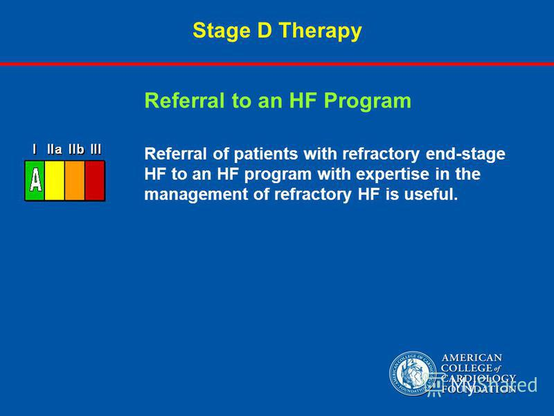 Stage D Therapy Referral of patients with refractory end-stage HF to an HF program with expertise in the management of refractory HF is useful. Referral to an HF Program