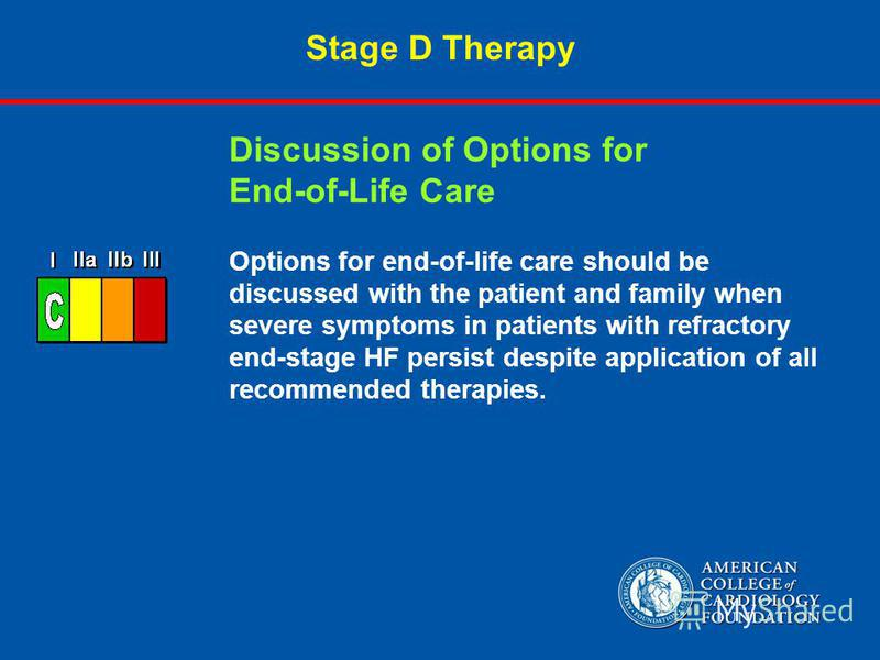 Stage D Therapy Options for end-of-life care should be discussed with the patient and family when severe symptoms in patients with refractory end-stage HF persist despite application of all recommended therapies. Discussion of Options for End-of-Life