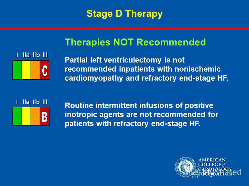 Stage D Therapy Partial left ventriculectomy is not recommended inpatients with nonischemic cardiomyopathy and refractory end-stage HF. Routine intermittent infusions of positive inotropic agents are not recommended for patients with refractory end-s