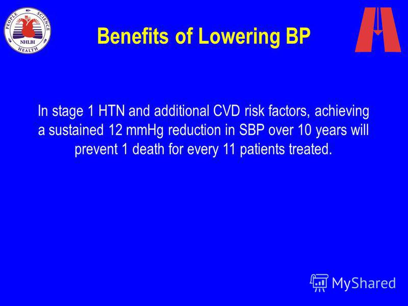 Benefits of Lowering BP In stage 1 HTN and additional CVD risk factors, achieving a sustained 12 mmHg reduction in SBP over 10 years will prevent 1 death for every 11 patients treated.