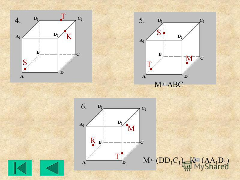 М ABC М М К M (DD 1 C 1 ), K (AA 1 D 1 ) 4.5. 6. S K S T T T A A A A1A1 A1A1 A1A1 B B B B1B1 B1B1 B1B1 C1C1 C1C1 C1C1 C C C D1D1 D1D1 D1D1 D D D