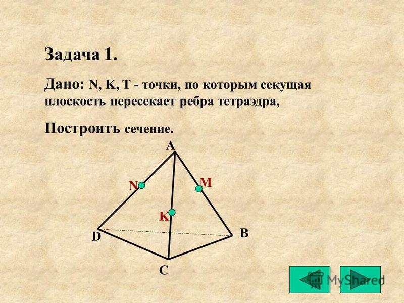 Задача 1. Дано: N, K, T - точки, по которым секущая плоскость пересекает ребра тетраэдра, Построить сечение. B C D M N K А