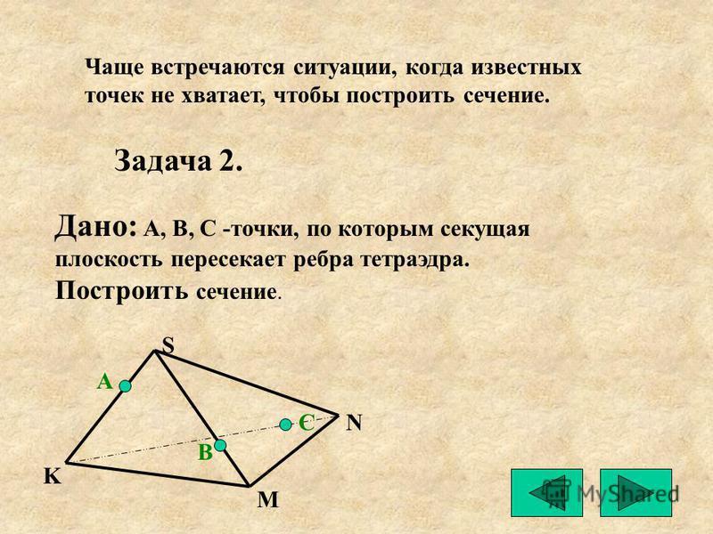 Чаще встречаются ситуации, когда известных точек не хватает, чтобы построить сечение. Задача 2. Дано: А, В, С -точки, по которым секущая плоскость пересекает ребра тетраэдра. Построить сечение. А В С S N M K
