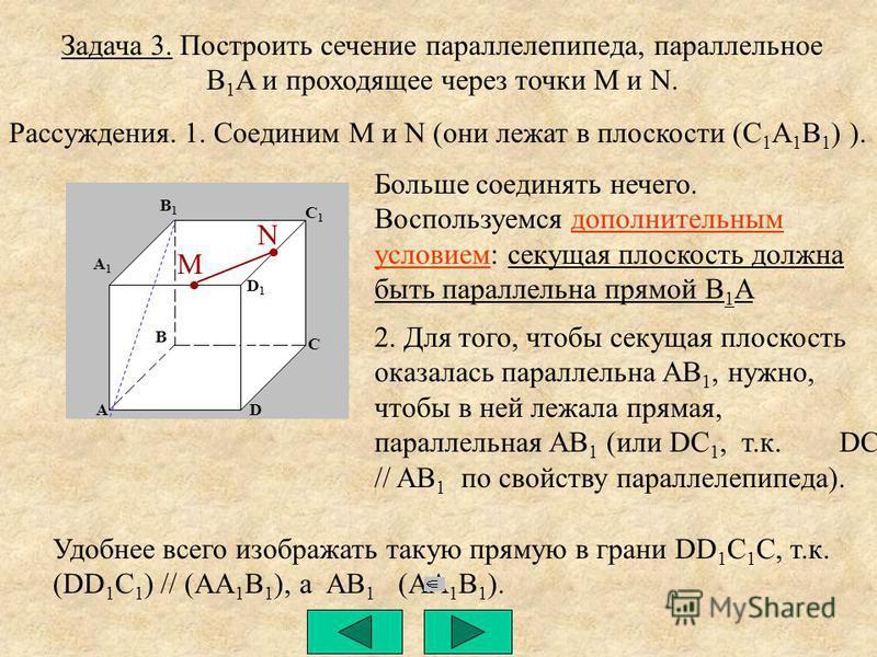 Задача 3. Построить сечение параллелепипеда, параллельное B 1 A и проходящее через точки M и N. A1A1 B1B1 C1C1 D1D1 A B D C N M Рассуждения.1. Соединим M и N (они лежат в плоскости (C 1 A 1 B 1 ) ). 2. Для того, чтобы секущая плоскость оказалась пара