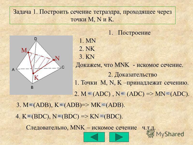 N M K Задача 1. Построить сечение тетраэдра, проходящее через точки M, N и K. 1. Построение 1. MN 2. NK 3. KN Докажем, что MNK - искомое сечение. 2. Доказательство 2. M (ADC), N (ADC) => MN (ADC). 3. M (ADB), K (ADB)=> MK (ADB). 4. K (BDC), N (BDC) =