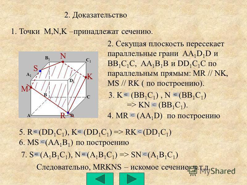 7. S (A 1 B 1 C 1 ), N (A 1 B 1 C 1 ) => SN (A 1 B 1 C 1 ) M N K A B1B1 A1A1 B C D D1D1 C1C1 R S 2. Доказательство 1. Точки M,N,K –принадлежат сечению. 2. Секущая плоскость пересекает параллельные грани AA 1 D 1 D и BB 1 C 1 C, AA 1 B 1 B и DD 1 C 1