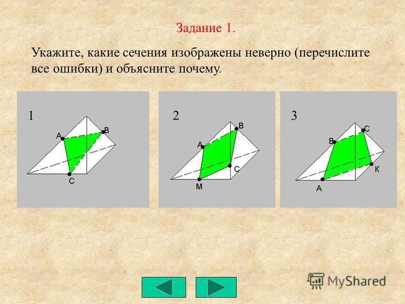 Задание 1. Укажите, какие сечения изображены неверно (перечислите все ошибки) и объясните почему. 1 2 3