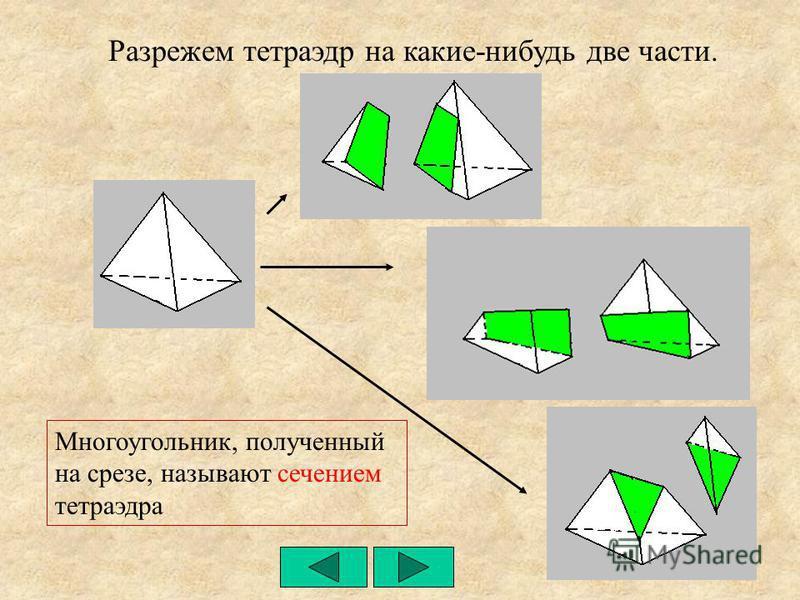 Разрежем тетраэдр на какие-нибудь две части. Многоугольник, полученный на срезе, называют сечением тетраэдра