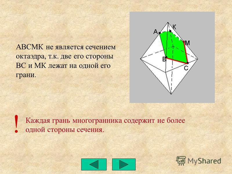 Каждая грань многогранника содержит не более одной стороны сечения. АВСМК не является сечением октаэдра, т.к. две его стороны ВС и МК лежат на одной его грани. !