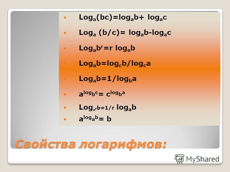 Свойства логарифмов: Log a (bc)=log a b+ log a c Log a (b/с)= log a b-log a c Log a b r =r log a b Log a b=log c b/log c a Log a b=1/log b a a log b c = c log b a Log a r b=1/r log a b a log a b = b