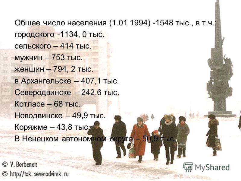 Общее число населения (1.01 1994) -1548 тыс., в т.ч.: городского -1134, 0 тыс. сельского – 414 тыс. мужчин – 753 тыс. женщин – 794, 2 тыс. в Архангельске – 407,1 тыс. Северодвинске – 242,6 тыс. Котласе – 68 тыс. Новодвинске – 49,9 тыс. Коряжме – 43,8