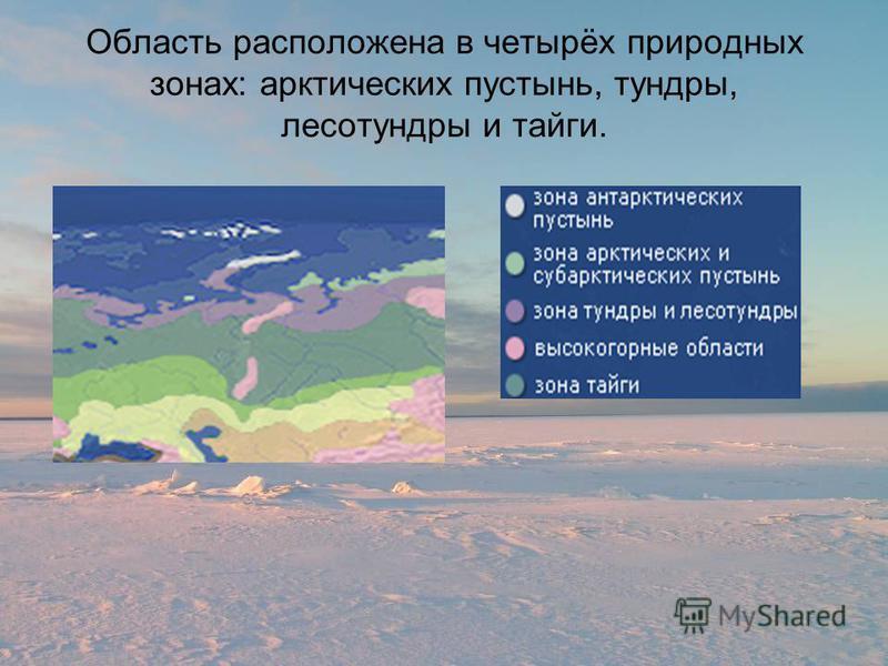 Область расположена в четырёх природных зонах: арктических пустынь, тундры, лесотундры и тайги.