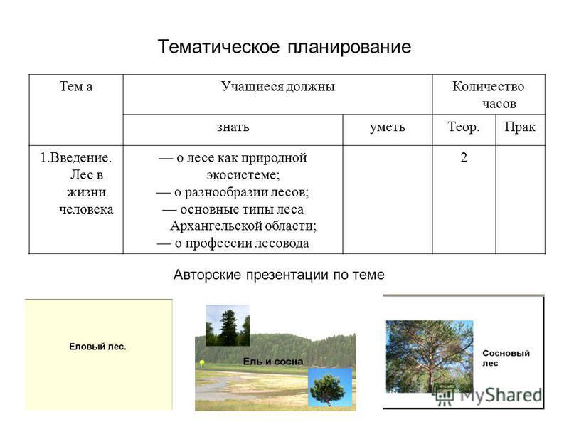 Тематическое планирование Тем а Учащиеся должны Количество часов знать уметь Теор.Прак 1.Введение. Лес в жизни человека о лесе как природной экосистеме; о разнообразии лесов; основные типы леса Архангельской области; о профессии лесовода 2 Авторские