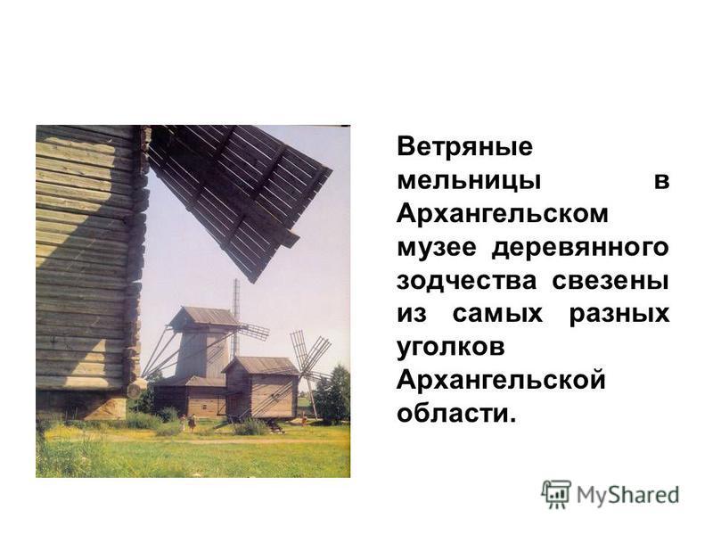 Ветряные мельницы в Архангельском музее деревянного зодчества свезены из самых разных уголков Архангельской области.