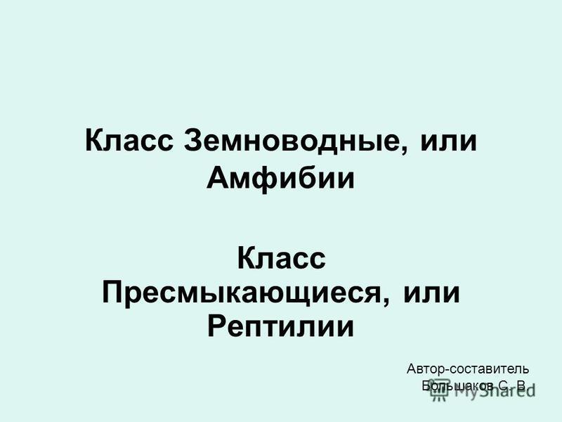 Класс Земноводные, или Амфибии Класс Пресмыкающиеся, или Рептилии Автор-составитель Большаков С. В.