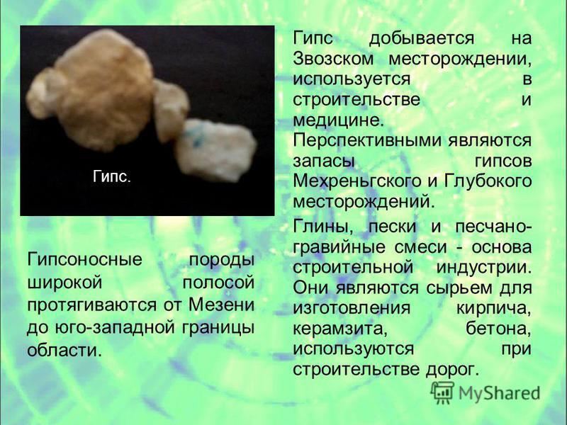 Гипсоносные породы широкой полосой протягиваются от Мезени до юго-западной границы области. Гипс добывается на Звозском месторождении, используется в строительстве и медицине. Перспективными являются запасы гипсов Мехреньгского и Глубокого месторожде