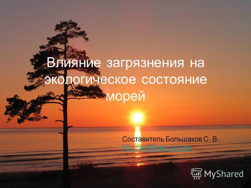Влияние загрязнения на экологическое состояние морей Составитель Большаков С. В. http://arkhkrai.ucoz.ru/
