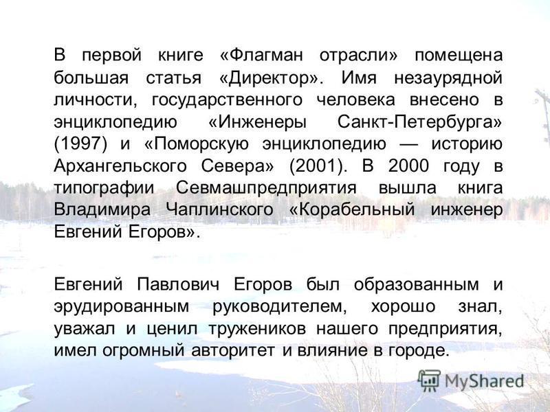 В первой книге «Флагман отрасли» помещена большая статья «Директор». Имя незаурядной личности, государственного человека внесено в энциклопедию «Инженеры Санкт-Петербурга» (1997) и «Поморскую энциклопедию историю Архангельского Севера» (2001). В 2000