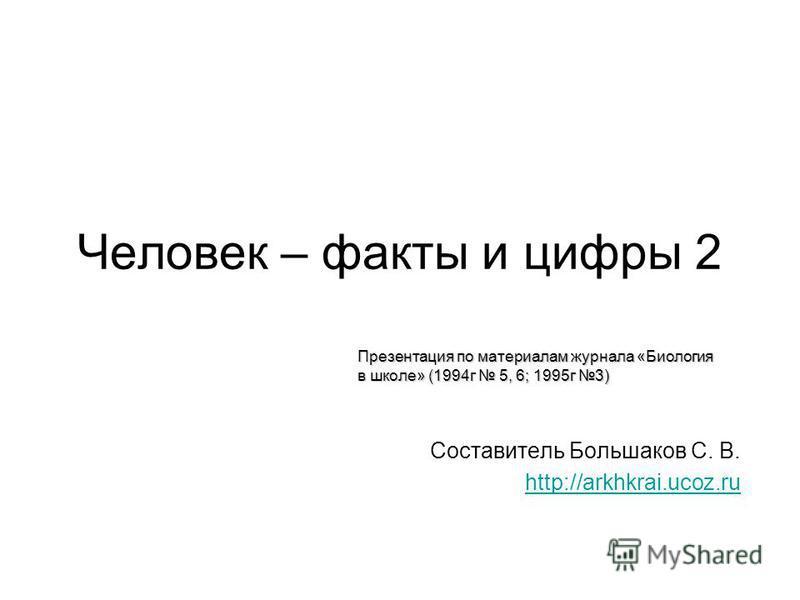 Человек – факты и цифры 2 Составитель Большаков С. В. http://arkhkrai.ucoz.ru Презентация по материалам журнала «Биология в школе» (1994 г 5, 6; 1995 г 3)