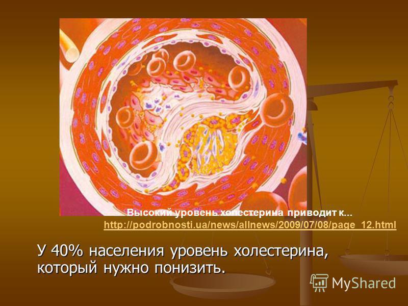 У 40% населения уровень холестерина, который нужно понизить. Высокий уровень холестерина приводит к... http://podrobnosti.ua/news/allnews/2009/07/08/page_12.html