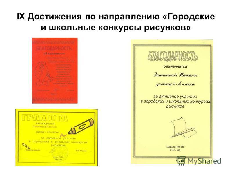IX Достижения по направлению «Городские и школьные конкурсы рисунков»