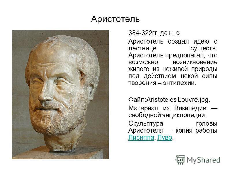 Аристотель 384-322 гг. до н. э. Аристотель создал идею о лестнице существ. Аристотель предполагал, что возможно возникновение живого из неживой природы под действием некой силы творения – энтелехии. Файл:Aristoteles Louvre.jpg. Материал из Википедии