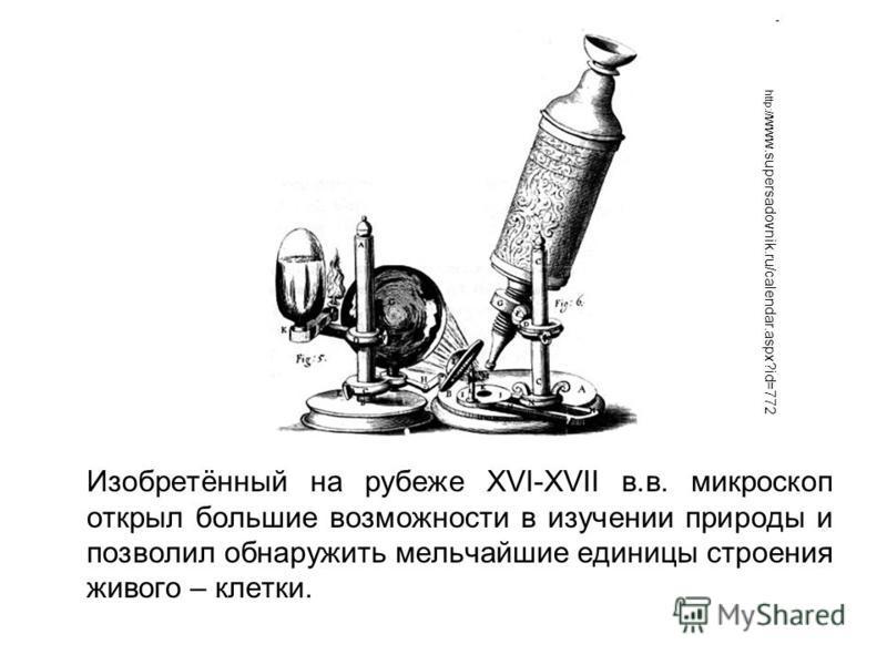Изобретённый на рубеже XVI-XVII в.в. микроскоп открыл большие возможности в изучении природы и позволил обнаружить мельчайшие единицы строения живого – клетки. http:// www.supersadovnik.ru/calendar.aspx?id=772