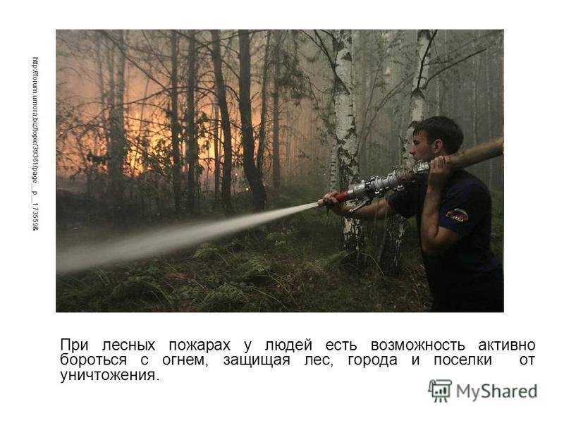 При лесных пожарах у людей есть возможность активно бороться с огнем, защищая лес, города и поселки от уничтожения. http://forum.umora.biz/topic/39361/page__p__173559&