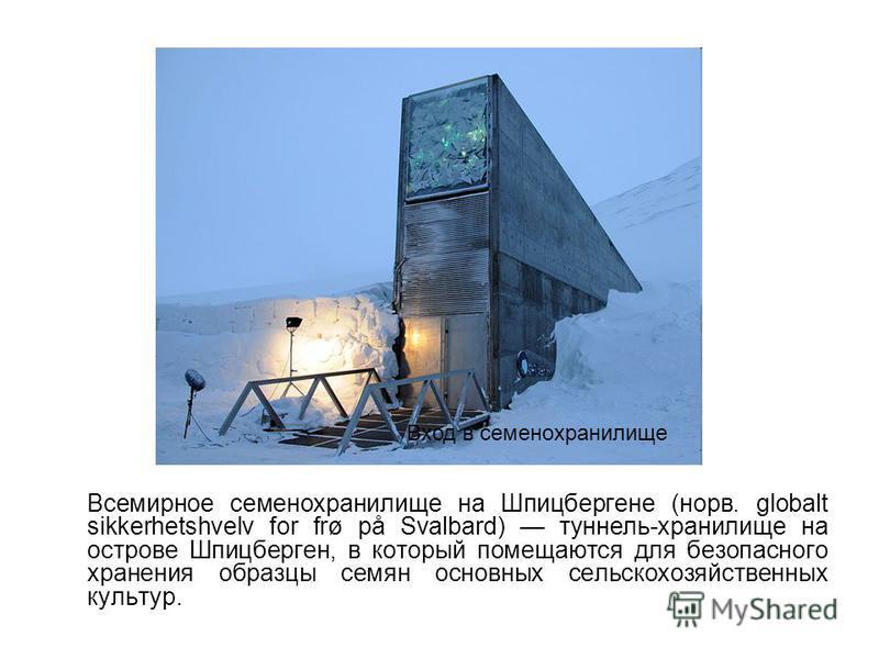 Всемирное семенохранилище на Шпицбергене (норв. globalt sikkerhetshvelv for frø på Svalbard) туннель-хранилище на острове Шпицберген, в который помещаются для безопасного хранения образцы семян основных сельскохозяйственных культур. Вход в семенохран