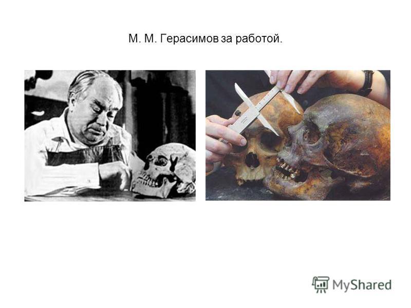М. М. Герасимов за работой.