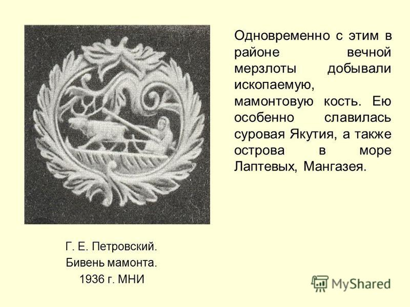 Г. Е. Петровский. Бивень мамонта. 1936 г. МНИ Одновременно с этим в районе вечной мерзлоты добывали ископаемую, мамонтовую кость. Ею особенно славилась суровая Якутия, а также острова в море Лаптевых, Мангазея.