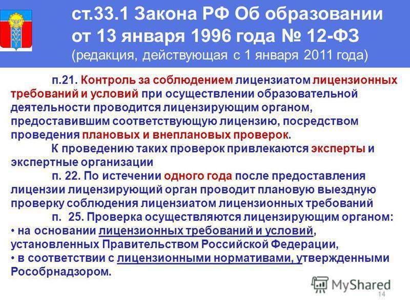 14 ст.33.1 Закона РФ Об образовании от 13 января 1996 года 12-ФЗ (редакция, действующая с 1 января 2011 года) п.21. Контроль за соблюдением лицензиатом лицензионных требований и условий при осуществлении образовательной деятельности проводится лиценз