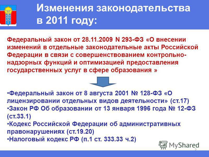 2 Изменения законодательства в 2011 году: Федеральный закон от 28.11.2009 N 293-ФЗ «О внесении изменений в отдельные законодательные акты Российской Федерации в связи с совершенствованием контрольно- надзорных функций и оптимизацией предоставления го