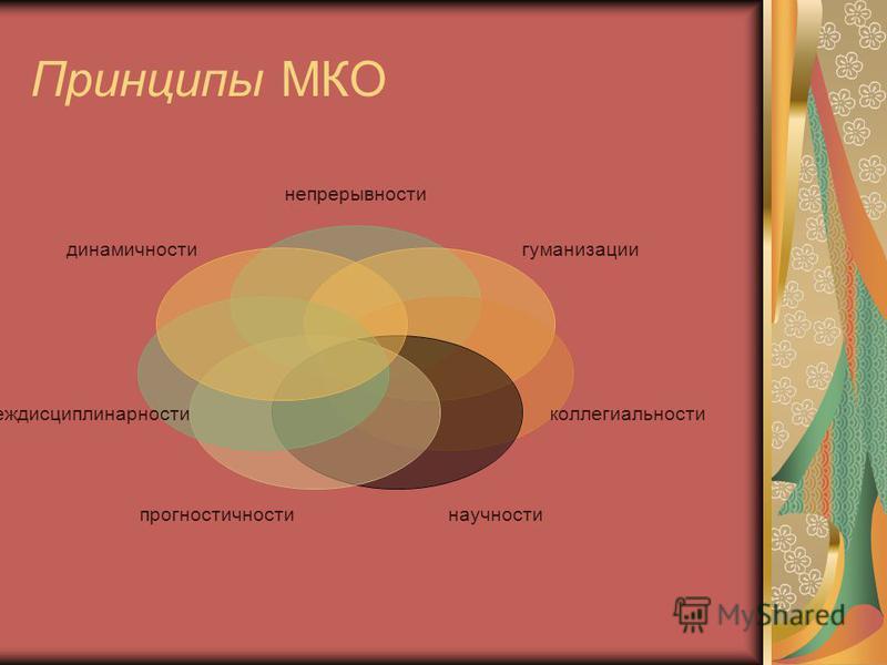 Принципы МКО непрерывности гуманизации коллегиальности научностипрогностичности междисциплинарности динамичности