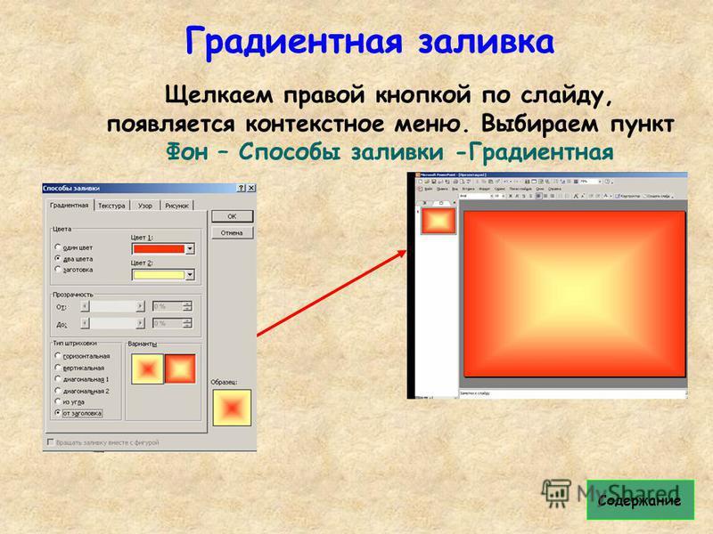 Градиентная заливка Щелкаем правой кнопкой по слайду, появляется контекстное меню. Выбираем пункт Фон – Способы заливки -Градиентная Содержание
