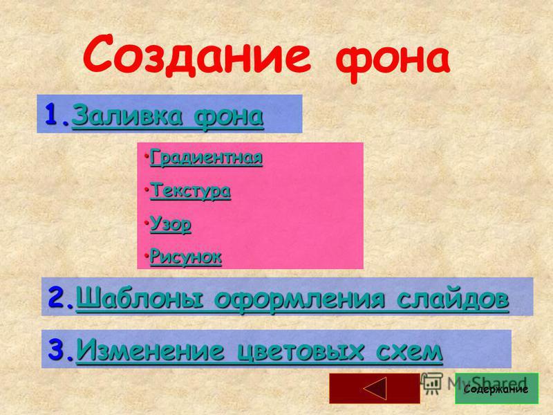 Создание фона 1. Заливка фона Заливка фона Заливка фона 2. Шаблоны оформления слайдов Шаблоны оформления слайдов Шаблоны оформления слайдов 3. Изменение цветовых схем Изменение цветовых схем Изменение цветовых схем Градиентная ГрадиентнаяГрадиентная