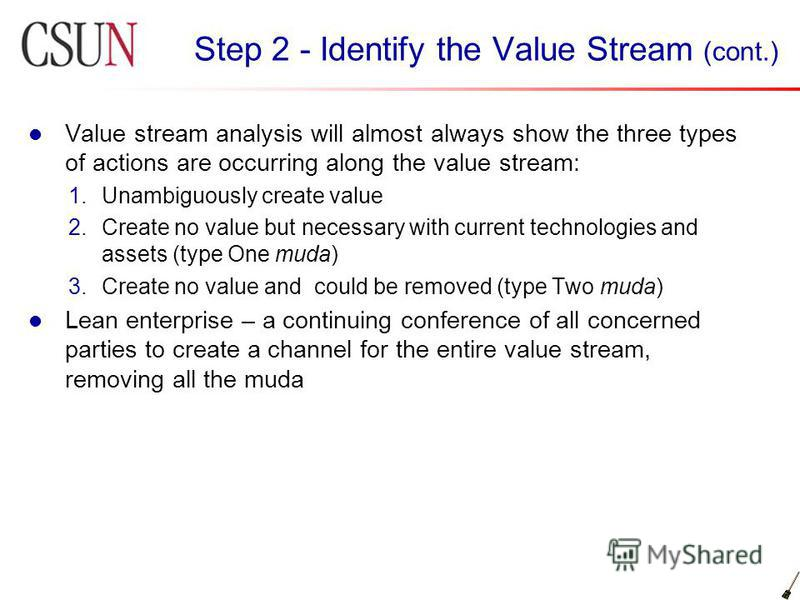 Step 2 - Identify the Value Stream (cont.) Value stream analysis will almost always show the three types of actions are occurring along the value stream: 1.Unambiguously create value 2.Create no value but necessary with current technologies and asset