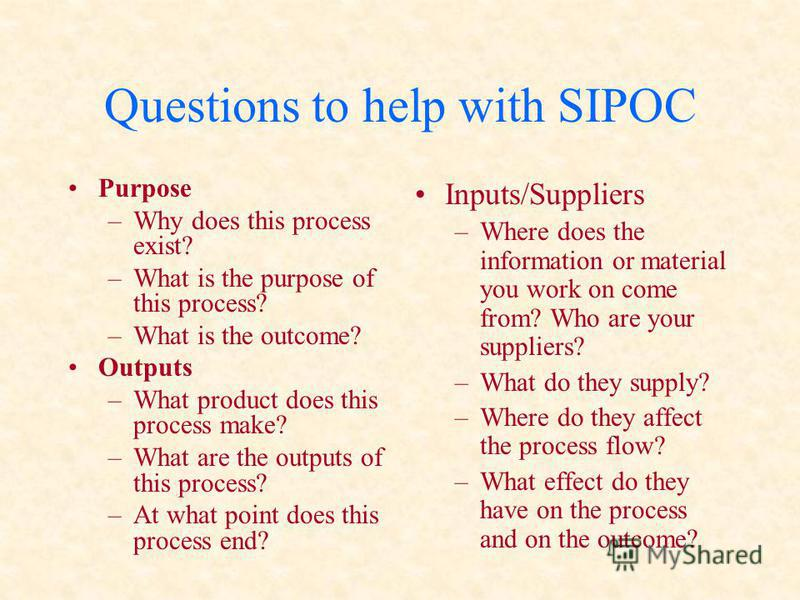 Questions to help with SIPOC Purpose –Why does this process exist? –What is the purpose of this process? –What is the outcome? Outputs –What product does this process make? –What are the outputs of this process? –At what point does this process end?