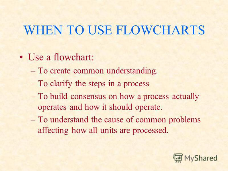WHEN TO USE FLOWCHARTS Use a flowchart: –To create common understanding. –To clarify the steps in a process –To build consensus on how a process actually operates and how it should operate. –To understand the cause of common problems affecting how al