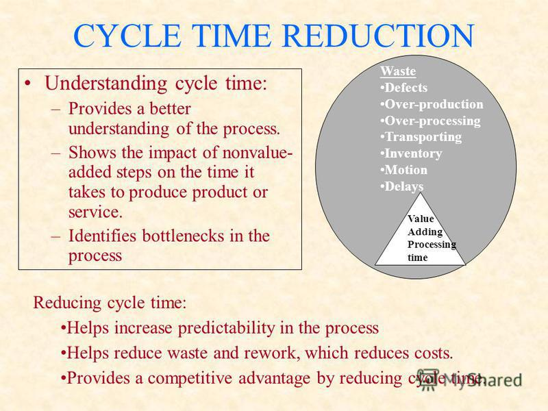 CYCLE TIME REDUCTION Understanding cycle time: –Provides a better understanding of the process. –Shows the impact of nonvalue- added steps on the time it takes to produce product or service. –Identifies bottlenecks in the process Reducing cycle time: