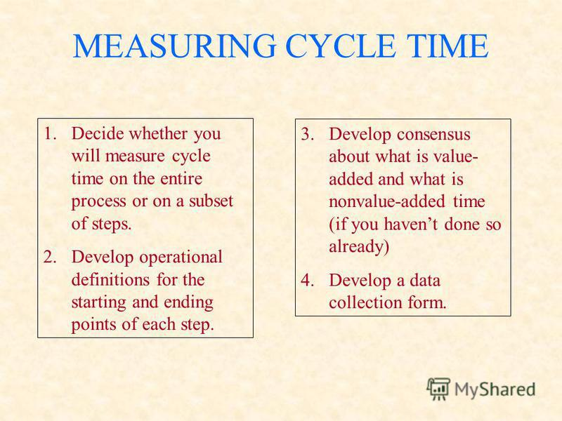 MEASURING CYCLE TIME 1.Decide whether you will measure cycle time on the entire process or on a subset of steps. 2.Develop operational definitions for the starting and ending points of each step. 3.Develop consensus about what is value- added and wha