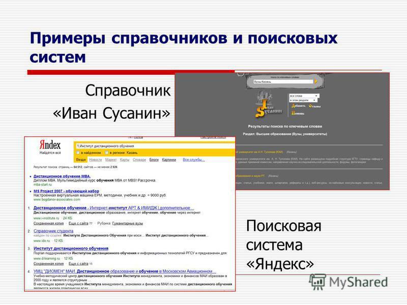 Примеры справочников и поисковых систем Справочник «Иван Сусанин» Поисковая система «Яндекс»