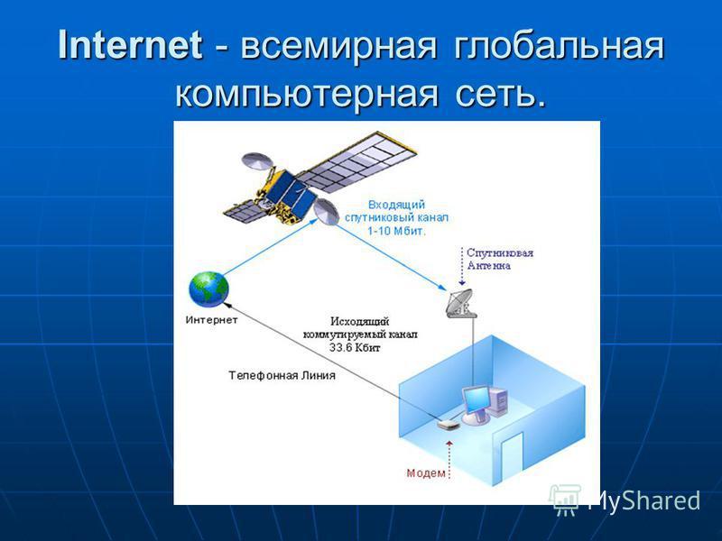 Internet - всемирная глобальная компьютерная сеть.