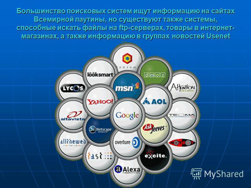 Большинство поисковых систем ищут информацию на сайтах Всемирной паутины, но существуют также системы, способные искать файлы на ftp-серверах, товары в интернет- магазинах, а также информацию в группах новостей Usenet